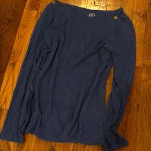 Jcrew blue painter tee with gold button detail